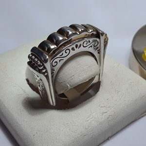 Vintage Ribbed Scroll etched side 925 Ring #12177
